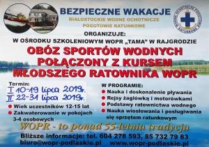 Obóz Sportów Wodnych i Rat.Wodn.2019